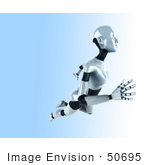 #50695 Royalty-Free (Rf) Illustration Of A 3d Female Robot Mascot Floating To The Right - Version 2