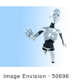 #50696 Royalty-Free (Rf) Illustration Of A 3d Female Robot Mascot Reaching Outward - Version 2