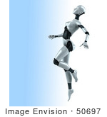 #50697 Royalty-Free (Rf) Illustration Of A 3d Female Robot Mascot Dancing - Version 2