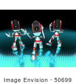 #50699 Royalty-Free (Rf) Illustration Of Three 3d Futuristic Speaker Robot Mascots Dancing - Version 2