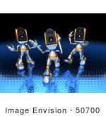 #50700 Royalty-Free (Rf) Illustration Of Three 3d Futuristic Speaker Robot Mascots Dancing - Version 1