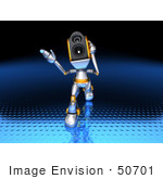 #50701 Royalty-Free (Rf) Illustration Of A 3d Futuristic Speaker Robot Mascot Walking Forward And Gesturing - Version 1