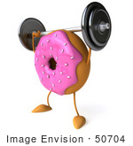 #50704 Royalty-Free (Rf) Illustration Of A 3d Pink Frosted Doughnut Weightlifting