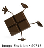 #50713 Royalty-Free (Rf) Illustration Of A 3d Milk Chocolate Bar Mascot Performing A Hand Stand