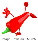 #50725 Royalty-Free (Rf) Illustration Of A 3d Red Hot Chili Pepper Mascot Doing A Hand Stand - Version 2