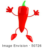 #50726 Royalty-Free (Rf) Illustration Of A 3d Red Hot Chili Pepper Mascot Leaping