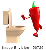 #50729 Royalty-Free (Rf) Illustration Of A 3d Red Hot Chili Pepper Mascot Running To A Toilet