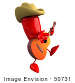 #50731 Royalty-Free (Rf) Illustration Of A 3d Red Hot Chili Pepper Mascot Cowboy Musician
