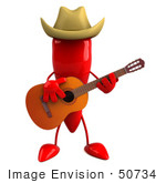 #50734 Royalty-Free (Rf) Illustration Of A 3d Red Hot Chili Pepper Mascot Playing Country Music