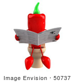 #50737 Royalty-Free (Rf) Illustration Of A 3d Red Hot Chili Pepper Mascot Reading On A Toilet - Version 1