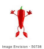 #50738 Royalty-Free (Rf) Illustration Of A 3d Red Hot Chili Pepper Mascot Jumping - Version 1