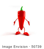 #50739 Royalty-Free (Rf) Illustration Of A 3d Red Hot Chili Pepper Mascot Facing Front - Version 1