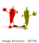 #50740 Royalty-Free (Rf) Illustration Of 3d Red And Green Chili Pepper Mascots Going In For Hugs