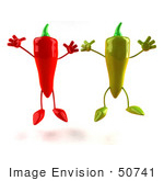 #50741 Royalty-Free (Rf) Illustration Of 3d Red And Green Chili Pepper Mascots Jumping - Version 2