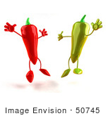#50745 Royalty-Free (Rf) Illustration Of 3d Red And Green Chili Pepper Mascots Jumping - Version 3