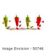 #50746 Royalty-Free (Rf) Illustration Of 3d Red And Green Chili Pepper Mascots Walking Right - Version 1