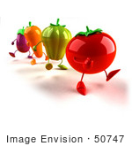 #50747 Royalty-Free (Rf) Illustration Of 3d Tomato Bell Pepper Carrot And Eggplant Characters Marching - Version 1