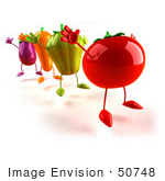 #50748 Royalty-Free (Rf) Illustration Of 3d Tomato Bell Pepper Carrot And Eggplant Characters Jumping - Version 2