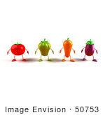 #50753 Royalty-Free (Rf) Illustration Of 3d Tomato Bell Pepper Carrot And Eggplant Characters Facing Front - Version 1