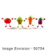 #50754 Royalty-Free (Rf) Illustration Of 3d Tomato Bell Pepper Carrot And Eggplant Characters Jumping - Version 1