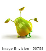 #50758 Royalty-Free (Rf) Illustration Of A 3d Green Bell Pepper Character Doing A Cartwheel - Version 1