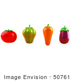 #50761 Royalty-Free (Rf) Illustration Of 3d Tomato Green Bell Pepper Carrot And Eggplant - Version 1