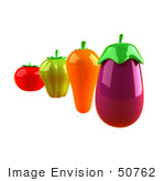 #50762 Royalty-Free (Rf) Illustration Of 3d Tomato Green Bell Pepper Carrot And Eggplant - Version 2