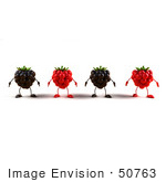 #50763 Royalty-Free (Rf) Illustration Of A Row Of 3d Raspberry And Blackberry Characters - Version 1