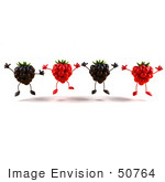 #50764 Royalty-Free (Rf) Illustration Of A Group Of Jumping 3d Raspberry And Blackberry Characters - Version 1