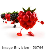#50766 Royalty-Free (Rf) Illustration Of 3d Blackberry And Raspberry Characters Walking Forward - Version 1