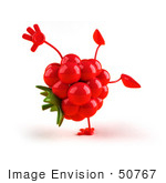 #50767 Royalty-Free (Rf) Illustration Of A 3d Raspberry Mascot Doing A Cartwheel - Version 1