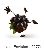 #50771 Royalty-Free (Rf) Illustration Of A 3d Blackberry Mascot Doing A Cartwheel - Version 1