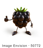 #50772 Royalty-Free (Rf) Illustration Of A 3d Blackberry Mascot Giving The Thumbs Up - Version 1