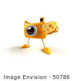 #50786 Royalty-Free (Rf) Illustration Of A 3d Yellow Camera Mascot Holding A Wedge Of Cheese - Version 4