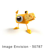 #50787 Royalty-Free (Rf) Illustration Of A 3d Yellow Camera Mascot Holding A Wedge Of Cheese - Version 1