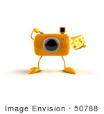 #50788 Royalty-Free (Rf) Illustration Of A 3d Yellow Camera Mascot Holding A Wedge Of Cheese - Version 6