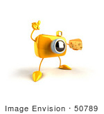 #50789 Royalty-Free (Rf) Illustration Of A 3d Yellow Camera Mascot Holding A Wedge Of Cheese - Version 2