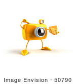 #50790 Royalty-Free (Rf) Illustration Of A 3d Yellow Camera Mascot Holding A Wedge Of Cheese - Version 7