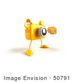 #50791 Royalty-Free (Rf) Illustration Of A 3d Yellow Camera Mascot Holding A Wedge Of Cheese - Version 5