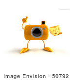 #50792 Royalty-Free (Rf) Illustration Of A 3d Yellow Camera Mascot Holding A Wedge Of Cheese - Version 3