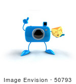#50793 Royalty-Free (Rf) Illustration Of A 3d Blue Camera Mascot Holding A Wedge Of Cheese - Version 3