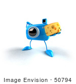 #50794 Royalty-Free (Rf) Illustration Of A 3d Blue Camera Mascot Holding A Wedge Of Cheese - Version 4