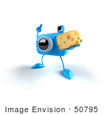 #50795 Royalty-Free (Rf) Illustration Of A 3d Blue Camera Mascot Holding A Wedge Of Cheese - Version 1
