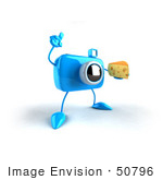 #50796 Royalty-Free (Rf) Illustration Of A 3d Blue Camera Mascot Holding A Wedge Of Cheese - Version 2