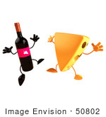 #50802 Royalty-Free (Rf) Illustration Of 3d Cheese Wedge And Wine Bottle Characters Jumping - Version 2