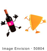 #50804 Royalty-Free (Rf) Illustration Of 3d Cheese Wedge And Wine Bottle Characters Jumping - Version 1