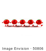 #50806 Royalty-Free (RF) Illustration Of 3d Red Tomato Characters Marching Forward by Julos