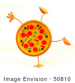 #50810 Royalty-Free (Rf) Illustration Of A 3d Pizza Mascot Doing A Cartwheel - Version 2