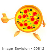 #50812 Royalty-Free (Rf) Illustration Of A 3d Pizza Mascot Giving The Thumbs Up - Version 2
