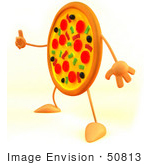 #50813 Royalty-Free (Rf) Illustration Of A 3d Pizza Mascot Giving The Thumbs Up - Version 1